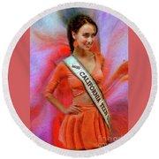 Athenna Crosby Miss California Teen Usa Round Beach Towel