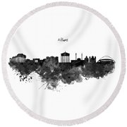 Athens Black And White Skyline Round Beach Towel