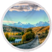 Atherton View Of Tetons Round Beach Towel by Charlotte Schafer