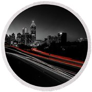 Atlanta Black And White Round Beach Towel
