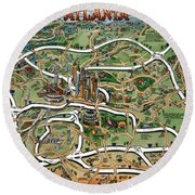 Atlanta Cartoon Map Round Beach Towel