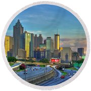 Round Beach Towel featuring the photograph Atlanta Coca-cola Sunset Reflections Art by Reid Callaway