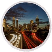 Round Beach Towel featuring the photograph Atlanta Downtown Infusion Atlanta Sunset Cityscapes Art by Reid Callaway