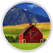 Round Beach Towel featuring the photograph Atlanta Falcons Barn by Movie Poster Prints