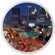 Atlanta Heavy Traffic Round Beach Towel by Frozen in Time Fine Art Photography