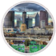 Round Beach Towel featuring the photograph Atlanta Moving On Skyline Cityscape Art by Reid Callaway