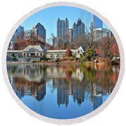 Atlanta Reflected Round Beach Towel by Frozen in Time Fine Art Photography