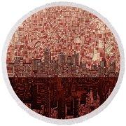 Atlanta Skyline Abstract Deep Red Round Beach Towel