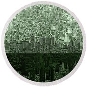 Atlanta Skyline Abstract Hunter Green Round Beach Towel