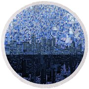 Atlanta Skyline Abstract Navy Blue Round Beach Towel