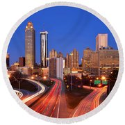 Atlanta Skyline In Morning Downtown Light Trails Color Round Beach Towel