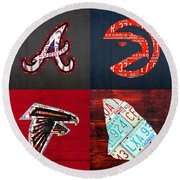 Atlanta Sports Fan Recycled Vintage Georgia License Plate Art Braves Hawks Falcons Plus State Map Round Beach Towel