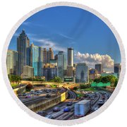Round Beach Towel featuring the photograph Atlanta The Capital Of The South Cityscapes Sunset Reflections Art by Reid Callaway