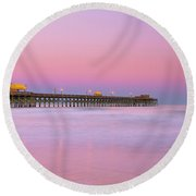 Round Beach Towel featuring the photograph Atlantic Ocean And The Apache Pier At Sunset In South Carolina by Ranjay Mitra