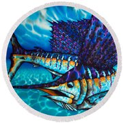 Atlantic Sailfish Round Beach Towel
