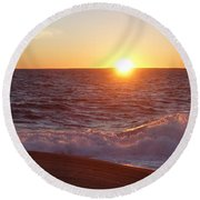 Atlantic Sunset Round Beach Towel by Heather Vopni