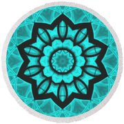 Atlantis Stained Glass Round Beach Towel