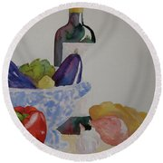 Round Beach Towel featuring the painting Atlas by Beverley Harper Tinsley