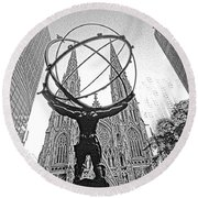 Atlas Rockefeller Center Nyc Round Beach Towel