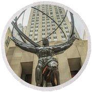 Atlas Rockefeller Center Round Beach Towel by Timothy Lowry