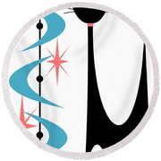 Atomic Cat Turquoise And Pink  Round Beach Towel