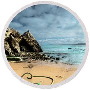 Round Beach Towel featuring the photograph Attached To The Boat by Edgar Laureano