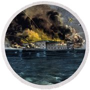 Attack On Fort Sumter Round Beach Towel