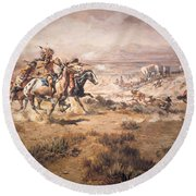 Attack On The Wagon Train Round Beach Towel