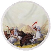Attacking The Grizzly Bear 1844 Round Beach Towel