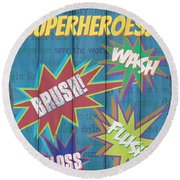 Attention Superheroes Round Beach Towel
