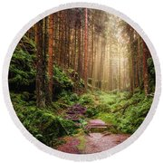 Attractive Pathway In Saxon Switzerland Round Beach Towel