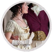 Attractive Regency Couple Round Beach Towel by Lee Avison