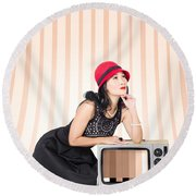Attractive Young Pin-up Lady On Television Round Beach Towel