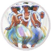 Ature Drum Dancers Round Beach Towel