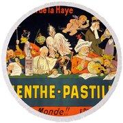 Au Tribunal De La Haye La Menthe Pastille Vintage Round Beach Towel by Carsten Reisinger