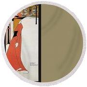 Aubrey Beardsley - Girl In Red Gown - Vintage Advertising Poster Round Beach Towel