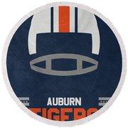 Auburn Tigers Vintage Football Art Round Beach Towel