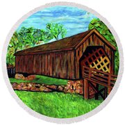 Auchumpkee Creek Covered Bridge Round Beach Towel