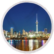 Auckland At Dusk Round Beach Towel
