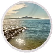 Auckland Harbour On A Winter's Afternoon Round Beach Towel
