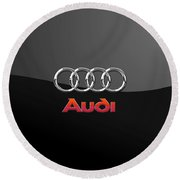 Audi 3 D Badge On Black Round Beach Towel