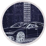 Audi Rs7 Vossen  Round Beach Towel by PixBreak Art