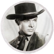 Audie Murphy, Vintage Actor Round Beach Towel