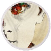Audrey Half Face Portrait Round Beach Towel