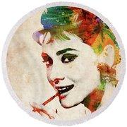 Audrey Hepburn Colorful Portrait Round Beach Towel