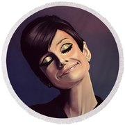 Audrey Hepburn Painting Round Beach Towel by Paul Meijering