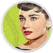 Audrey Hepburn_popart06-3 Round Beach Towel