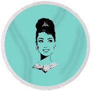 Audrey In Tiffany Blue Round Beach Towel by Rene Flores