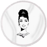 Audrey Round Beach Towel by Rene Flores