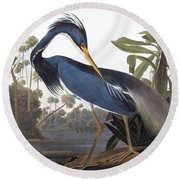Audubon Heron, 1827 Round Beach Towel